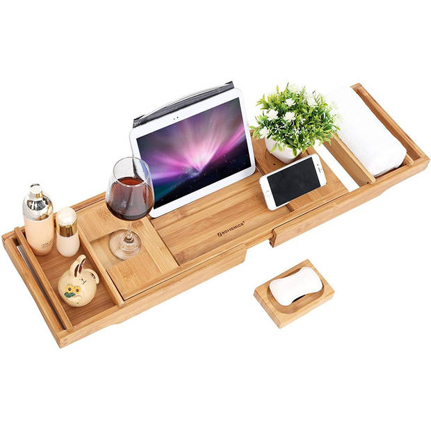 HQ Badrek Bad Tafel Plank - Badplank Rek Verstelbaar - Badbrug Bamboe Hout