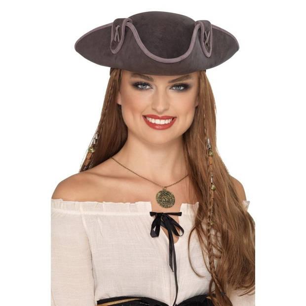 Grijze driepunt piratenhoed voor volwassenen