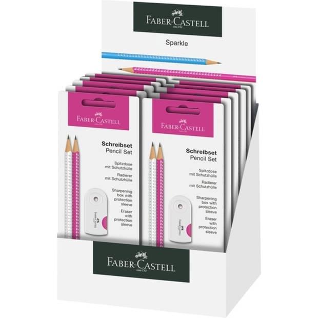 schrijfset Faber-Castell Sparkle wit/roze