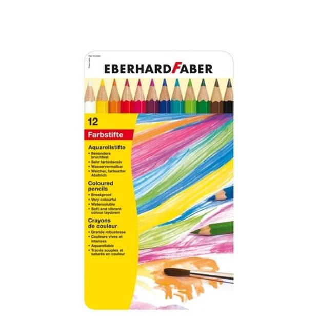 aquarelpotlood Eberhard Faber metaaletui a 12 stuks met penseel