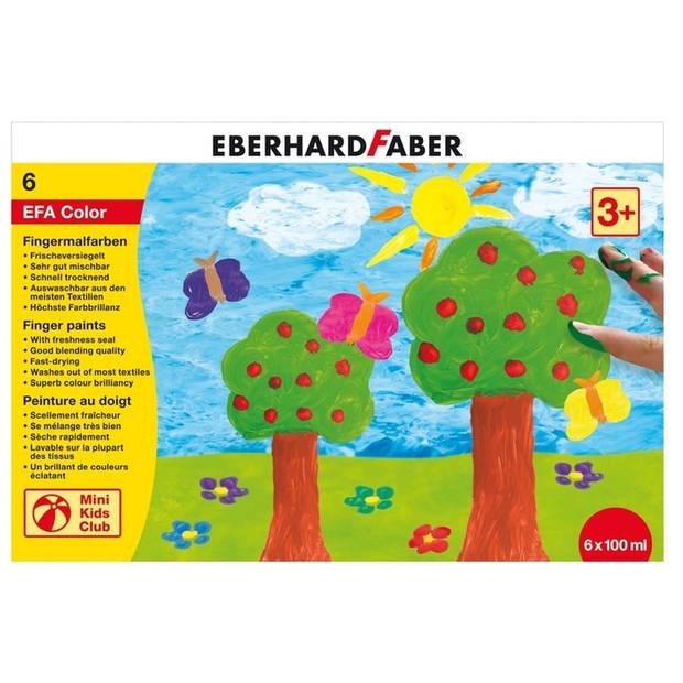 vingerverf Eberhard Faber 100ml geel, rood, blauw, groen, wit, zwart