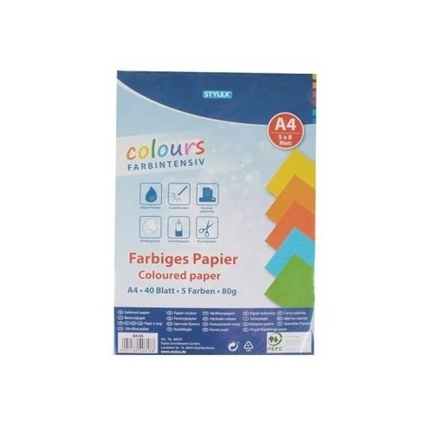 80 vellen Gekleurd A4 papier 80 gram - Hobbypapier