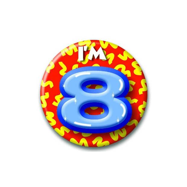 Verjaardags button I am 8 - buttons