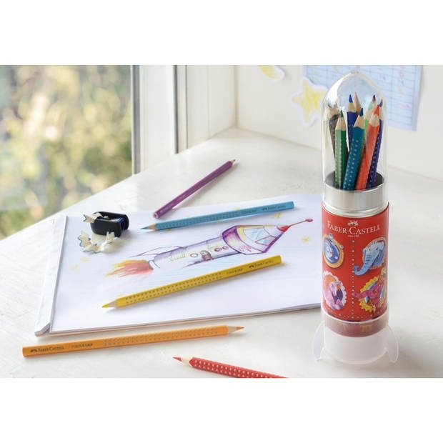 Kleurpotlood Faber-Castell GRIP raket met 15 stuks assorti