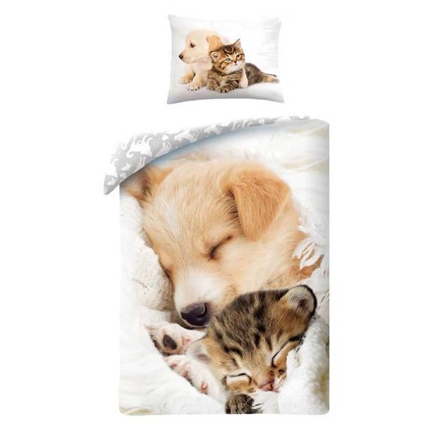 Animal Pictures dekbedovertrek Cute Animals - Wit - 1-Persoons 140x200 cm