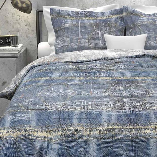 Heckett & Lane Maxwell dekbedovertrek - 100% katoen - Lits-jumeaux (260x200/220 cm + 2 slopen) - Denim Blue
