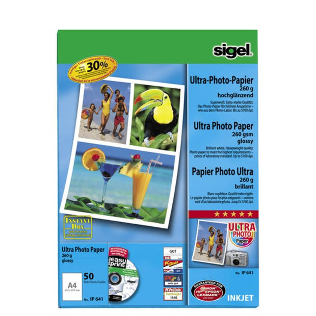 inkjetpapier Sigel A4 260grs pak a 50 vel fotopapier hoogglans superwit