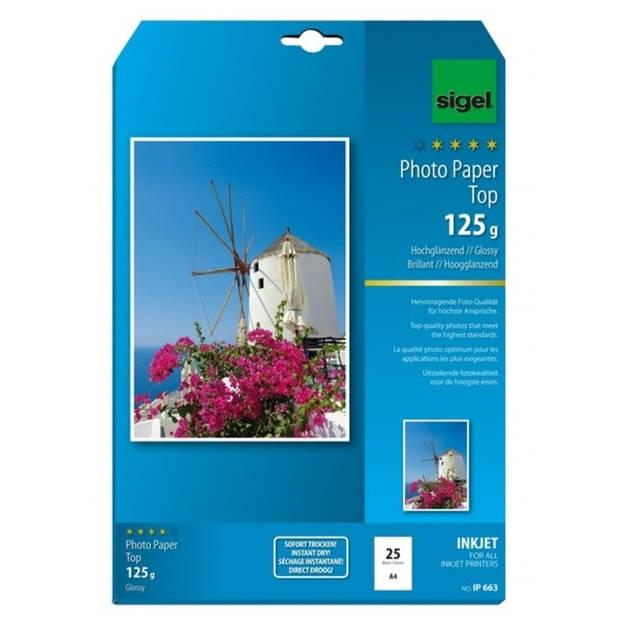 inkjetpapier Sigel A4 125grs Foto papier pak a 25 vel hoogglans hoogwit
