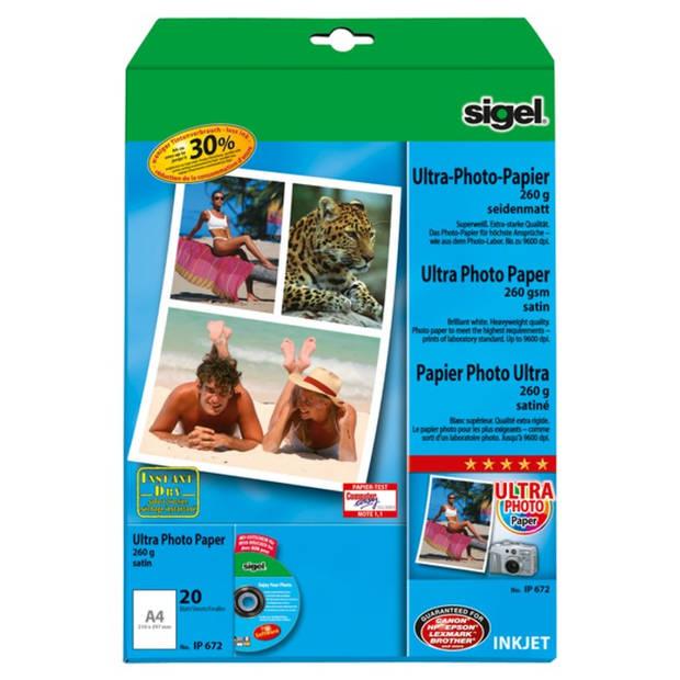 inkjet Ultra fotopapier A4 260 gram zijdemat 20 vel