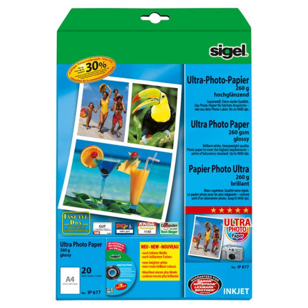 inkjet Ultra fotopapier A4 260 gram hoogglans 20 vel