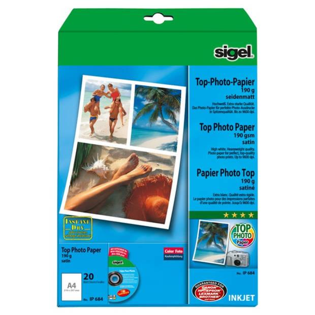 inkjetpapier Sigel A4 190g Foto papier zijdenmat pak a 20 blad