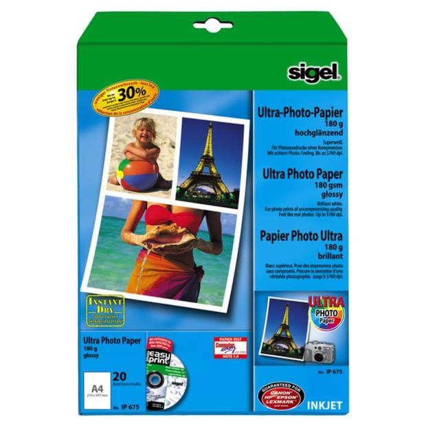 inkjet Ultra fotopapier A4 180 gram hoogglans 20 vel
