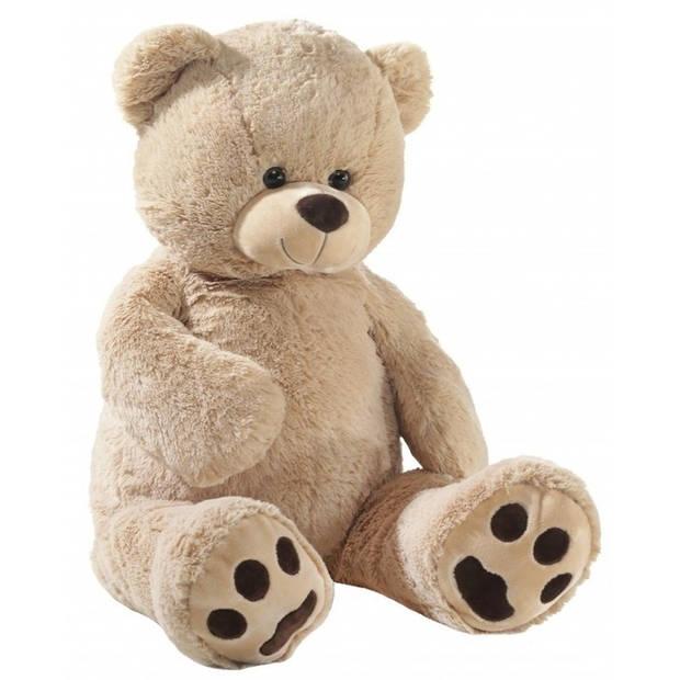 Grote pluche knuffelbeer beige 100 cm - Knuffelberen