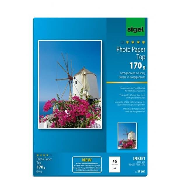 inkjetpapier Sigel A4 170grs pak a 50 vel fotopapier hoogglans hoogwit