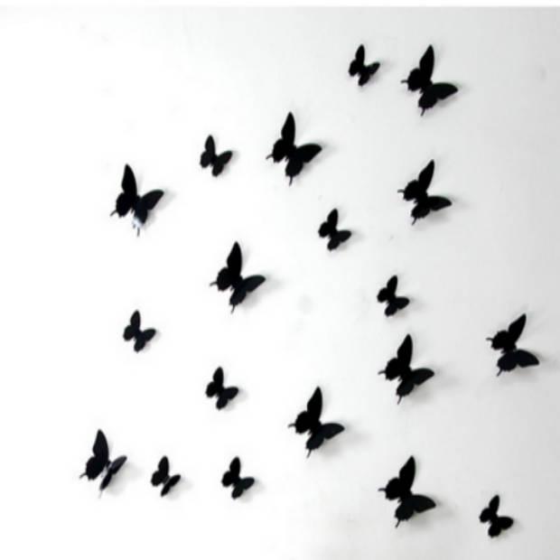 3D vlinder muurstickers - Zwart - 12 stuks