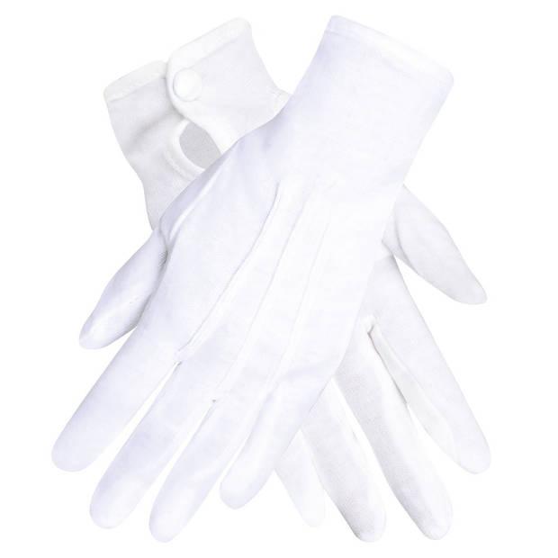Boland handschoenen Basic met drukknop unisex wit
