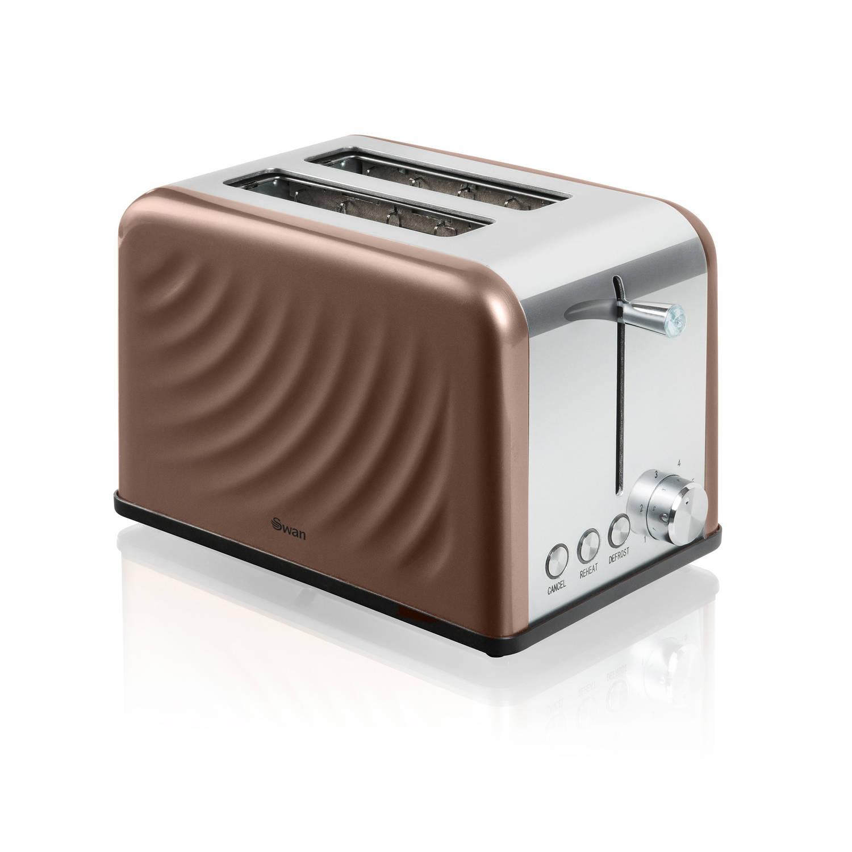 Swan twist toaster 2-slots koper