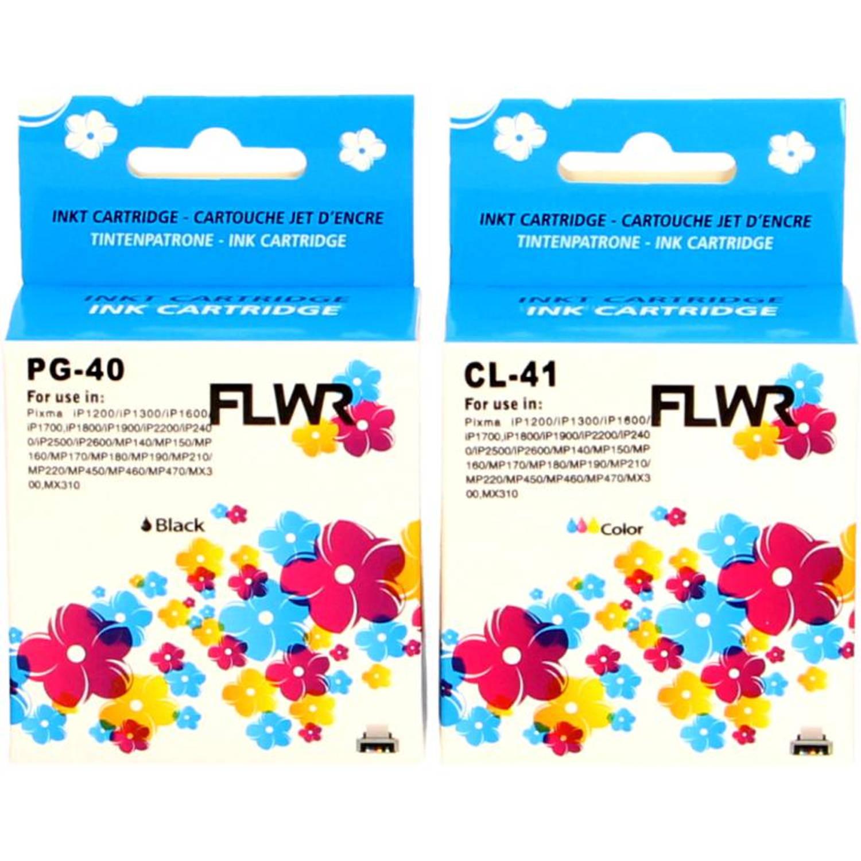 FLWR Canon PG-40 / CL-41 Multipack zwart en kleur Cartridge