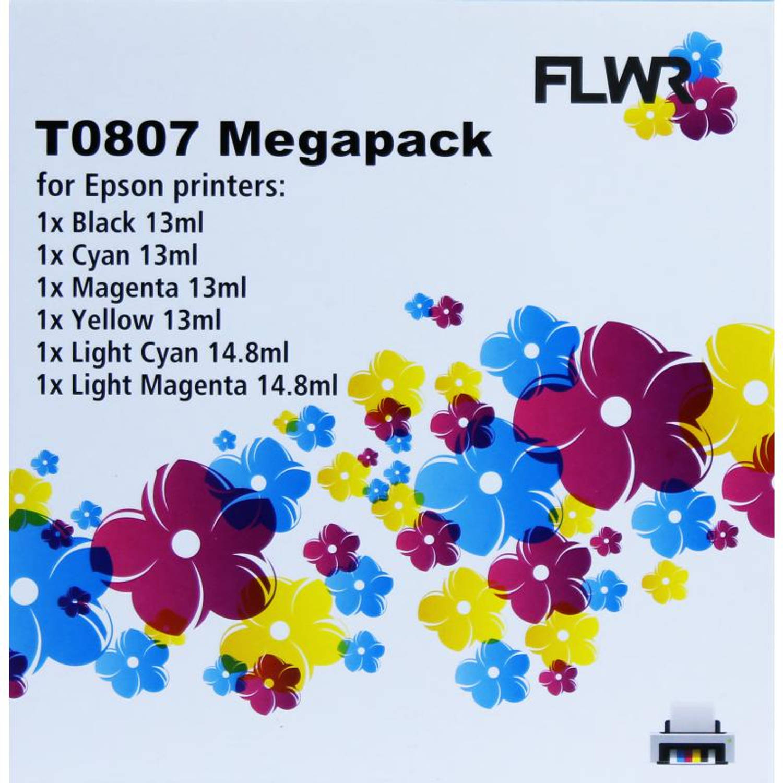 FLWR Epson T0807 multipack zwart en kleur Cartridge