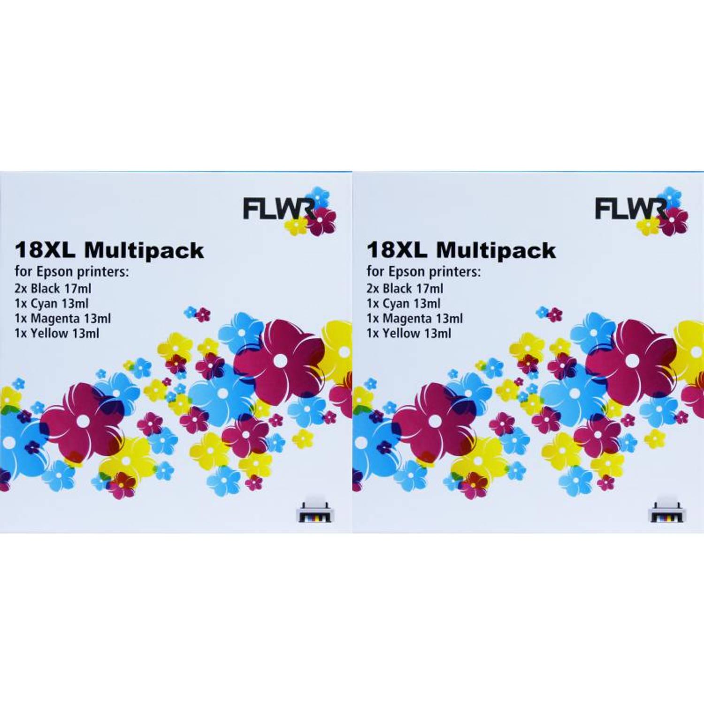 FLWR Epson 18XL Multipack (2 sets) zwart en kleur Cartridge