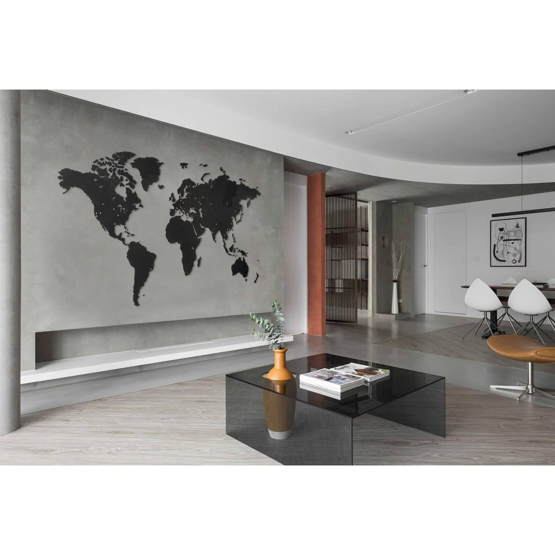 MiMi Innovations Giant Houten Wereldkaart - Muurdecoratie - 280x170 cm - Zwart