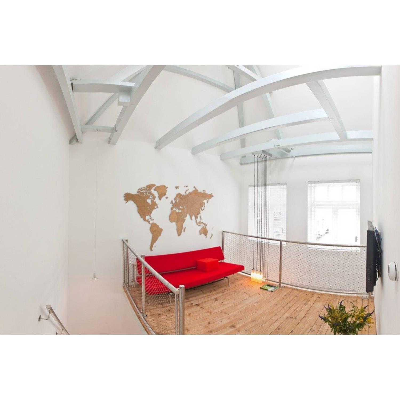 MiMi Innovations Giant Houten Wereldkaart - Muurdecoratie - 280x170 cm - Bruin
