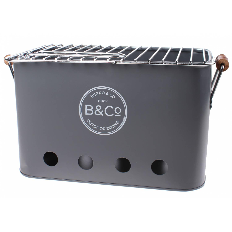 B&Co draagbare BBQ Wilyabrup 32 cm staal grijs