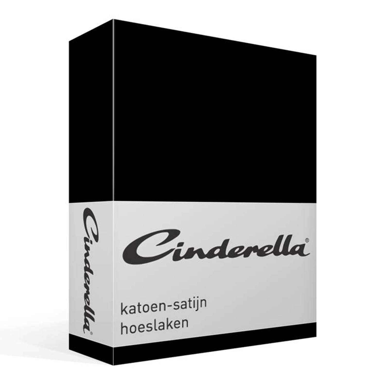 Cinderella satijn hoeslaken - 100% katoen-satijn - 2-persoons (120x200 cm) - Zwart