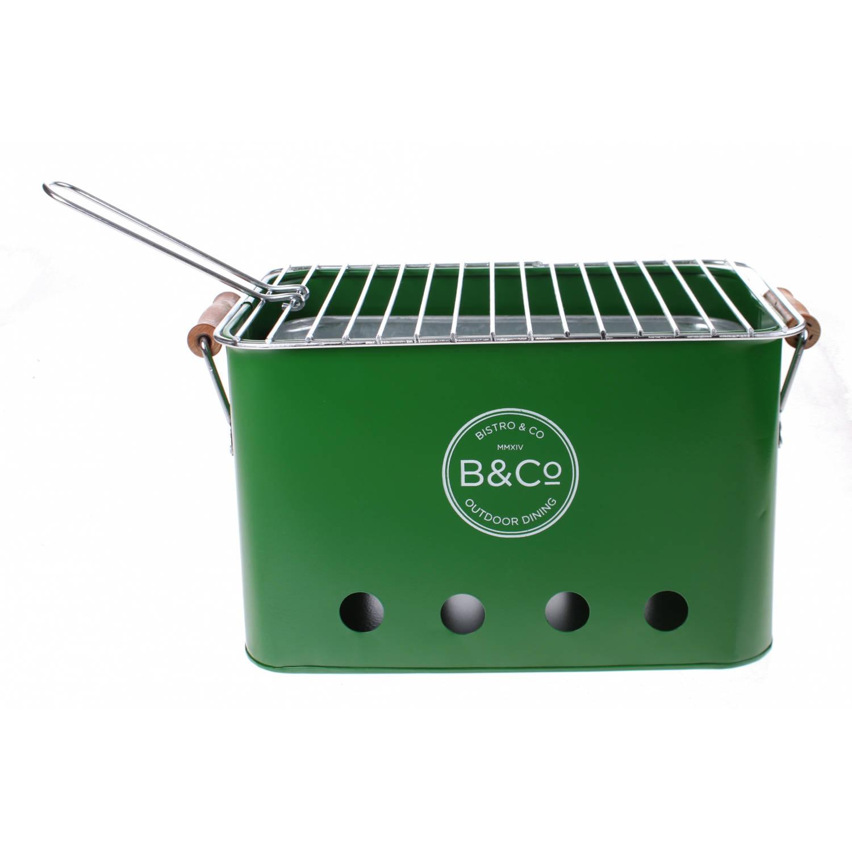 B&Co draagbare barbecue staal 32 x 20 x 20 cm groen