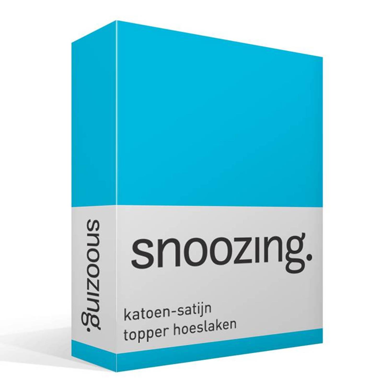 Snoozing katoen-satijn topper hoeslaken - 100% katoen-satijn - Lits-jumeaux (160x220 cm) - Turquoise