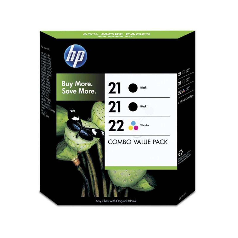 HP 21/21/22 3-pack zwart en kleur Cartridge