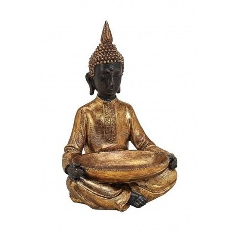 Boeddha beeld met schaal goud 37 cm