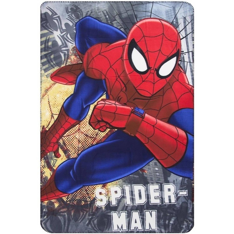 Grijze Spiderman fleece deken voor jongens