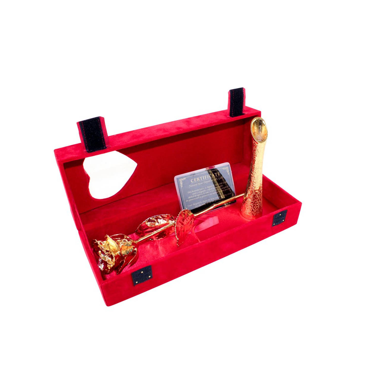 Gouden Roos met Gouden Vaasje in Roodfluwelen doos