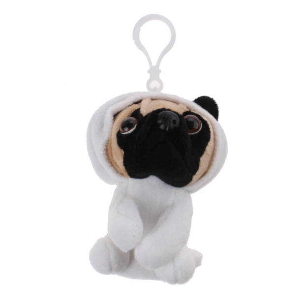 Kamparo sleutelhanger Pugs and Kisses panda 11 cm wit