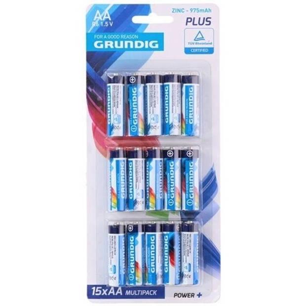 Grundig batterijen R06 AA zink 15 stuks
