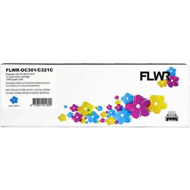 FLWR Oki C301 / C321 cyaan Toner