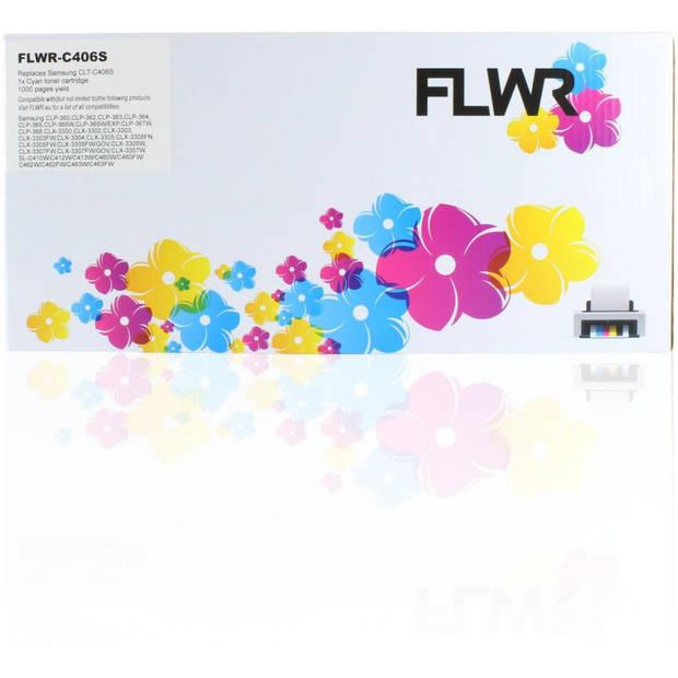 FLWR Samsung CLT-C406S cyaan Toner