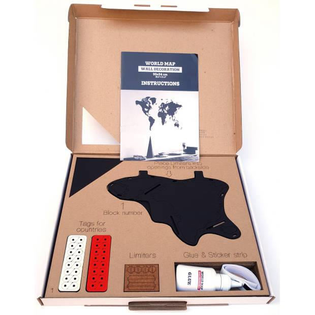 MiMi Innovations Luxe Houten Wereldkaart - Muurdecoratie - 90x54 cm - Zwart