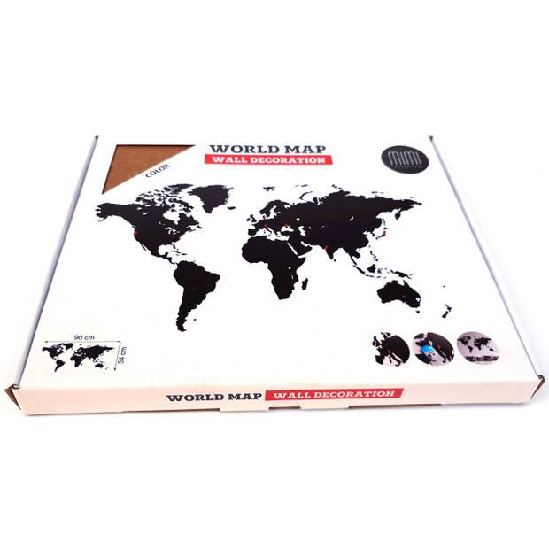 MiMi Innovations Luxe Houten Wereldkaart - Muurdecoratie - 90x54 cm - Bruin