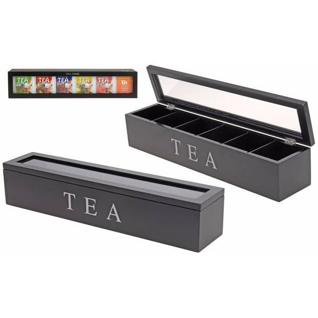 Grote zwarte 6-vaks theedoos 43 cm - Theedozen met vakjes/vakverdeling