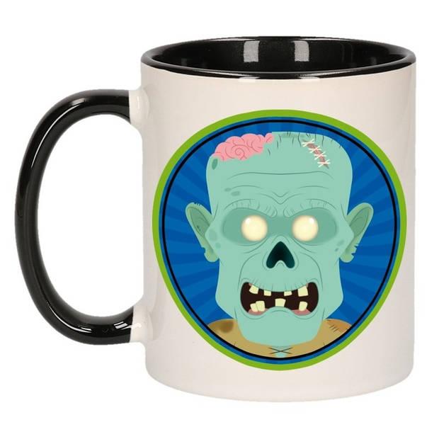 Enge zombie beker / mok - zwart / wit - 300 ml - Halloween