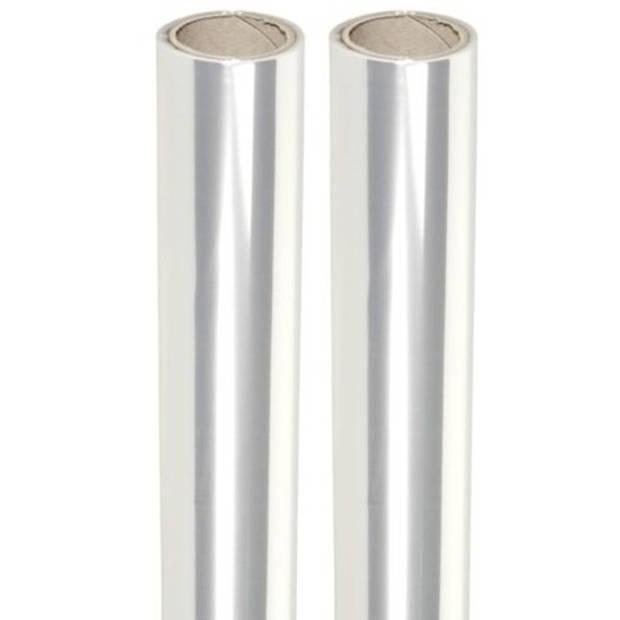 2 rollen transparante folie - 70 x 500 cm per stuk - cadeaupapier inpakfolie