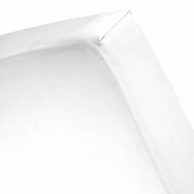 Cinderella katoen-satijn hoeslaken - 100% katoen-satijn - Lits-jumeaux (180x220 cm) - White