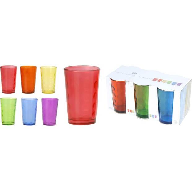 Glazen set gekleurd rond 6 stuks