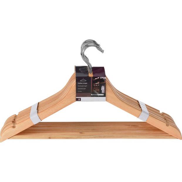 8 Luxe houten kledinghangers - 8 Houten klerenhangers