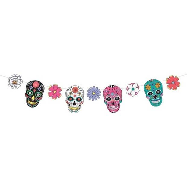 Day of the Dead DIY banner vlaggenlijn/slinger 16 x 120 cm - Halloween versiering/decoratie - Dia de Los Muertos