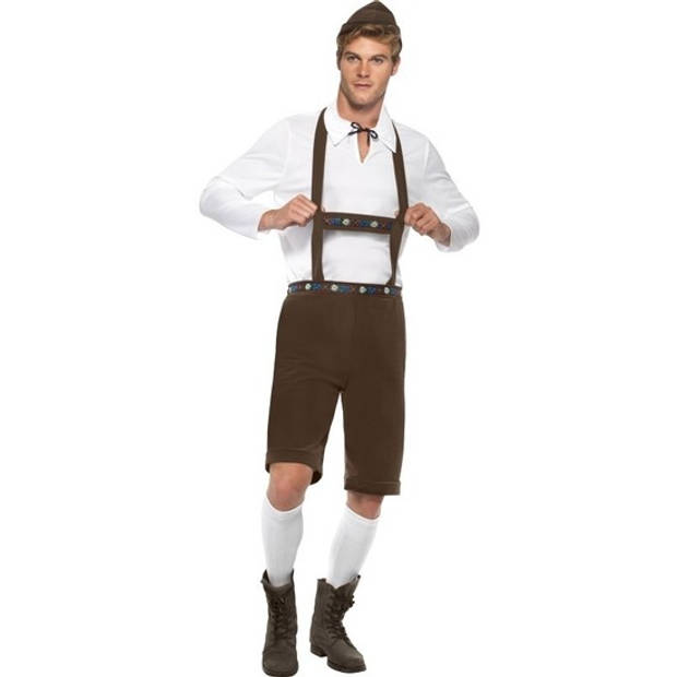 Oktoberfest - Bruine Oktoberfest lederhosen voor heren - Bierfeest kostuum 48-50 (M)