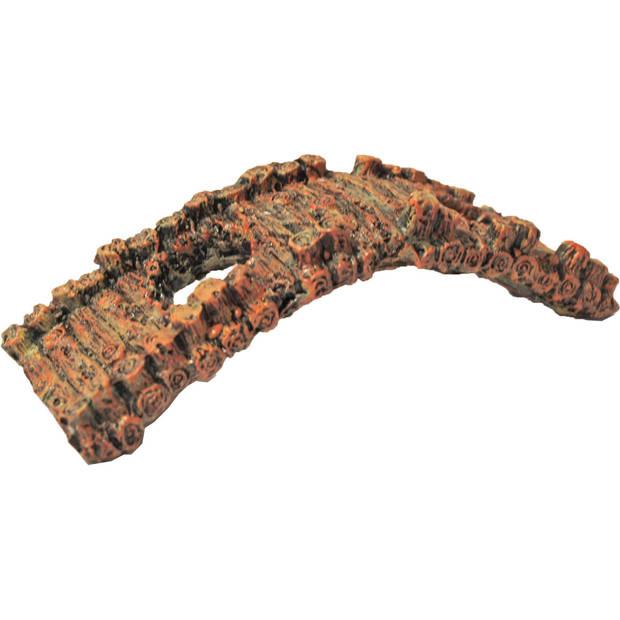 Polyresin ornament oude brug met 2 gaten bruin 17 cm Gebr de Boon