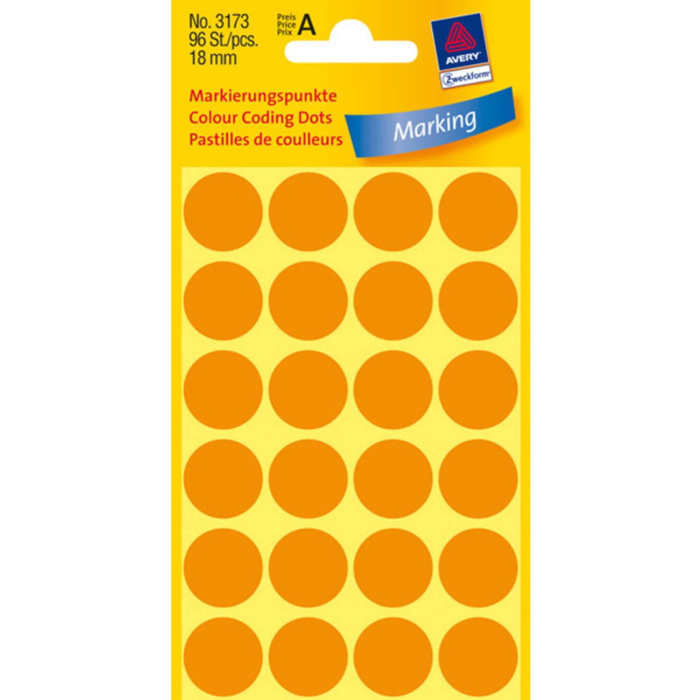 Korting Etiket Zweckform 18mm Rond 4 Vel A 24 Etiketjes Lichtoranje